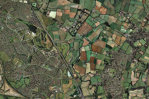 Aerial photograph of land and housing