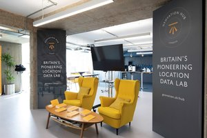 the Geovation office showing 2 yellow armchairs