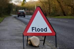 Flood alert road sign