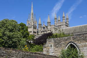 Peterborough Cathedral in the historic city of Peterborough in Cambridgeshire, UK.