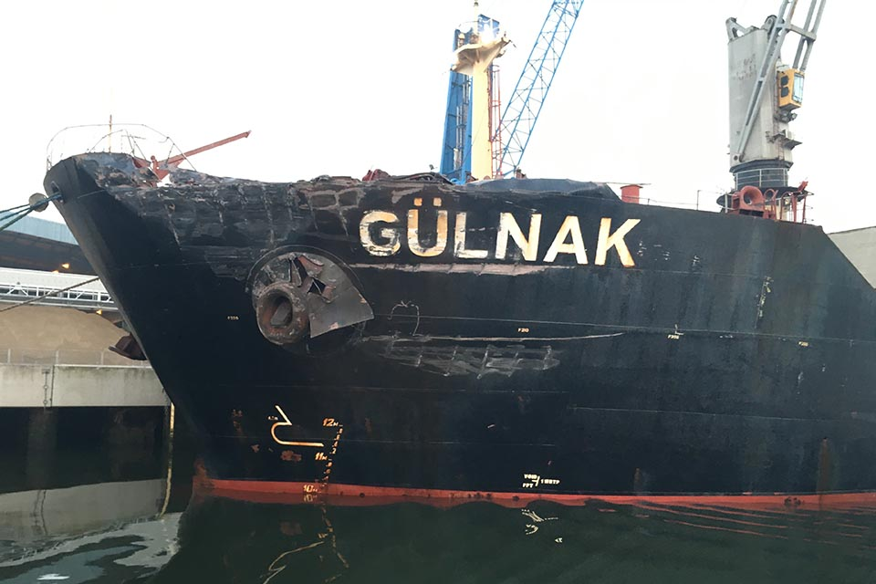 Damage to bulk carrier Gülnak