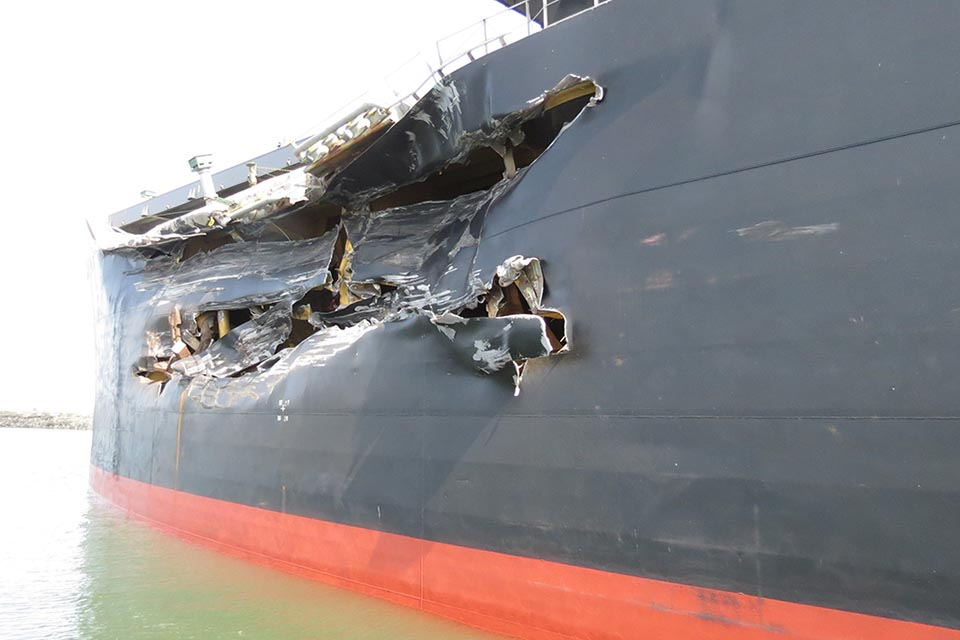 Damage to bulk carrier Cape Mathilde
