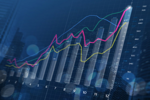 Financial bar chart and growing graphs with depth of field on dark blue background.
