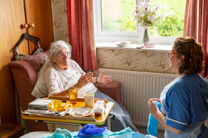 Nurse helping an older lady in her home