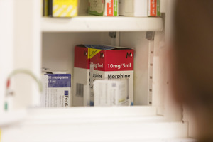Morphine in hospital controlled drugs cabinet