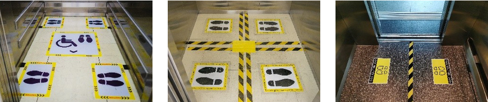 Stickers on lift floor to show where employees should stand and where a wheelchair user should be positioned.