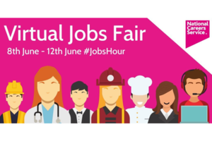 Promotional image for the National Careers Service's Virtual Jobs Fair in June.