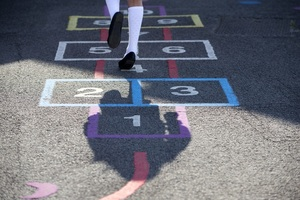 Child playing hopscotch in a school playground