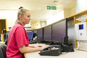 NHS worker using a screen