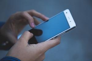 Smartphone held in hands