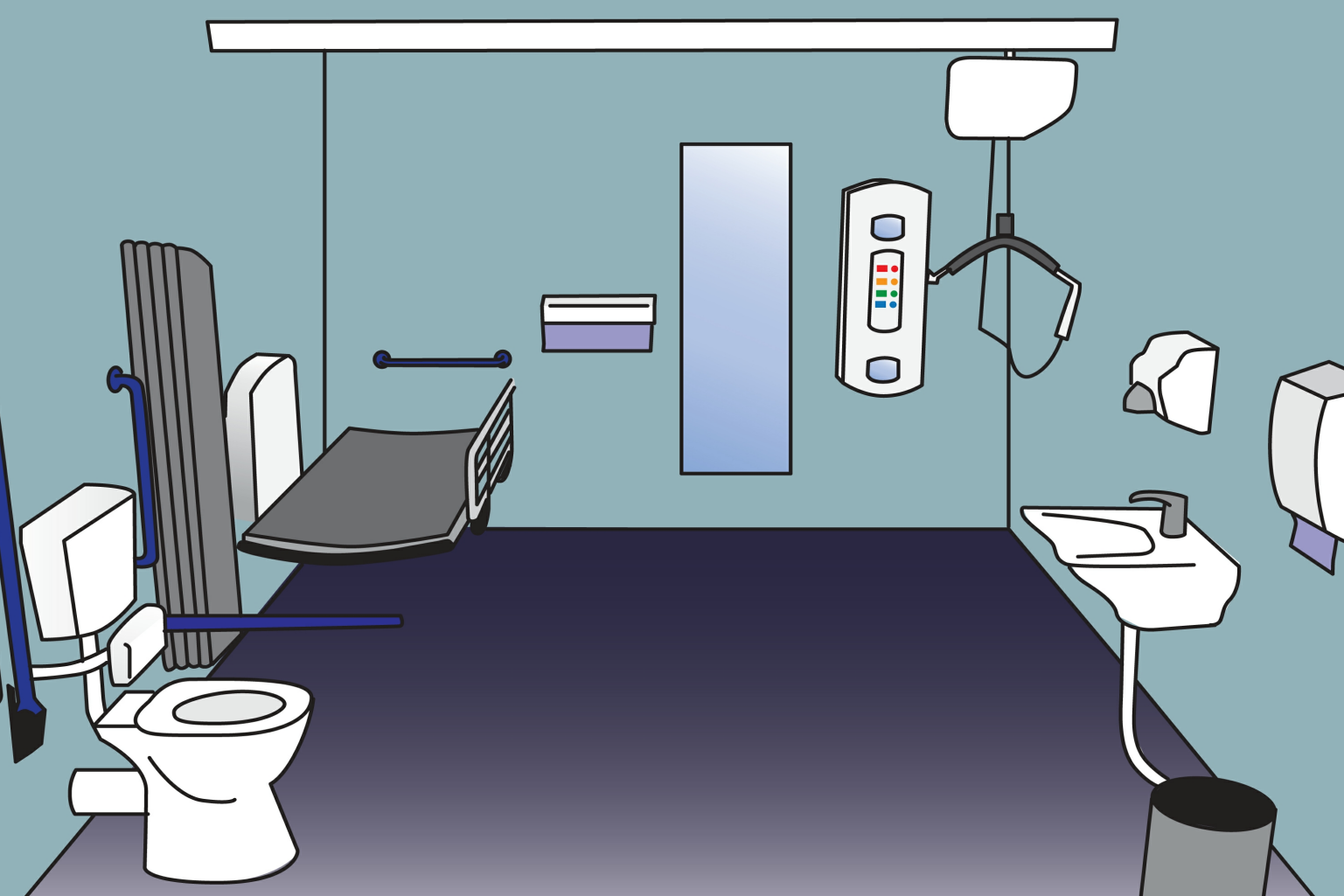 illustration of a changing places toilet layout