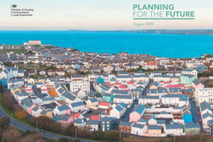Seaside town aerial view: text reads Planning for the Future.