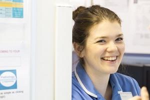 Smiling nurse in hospital