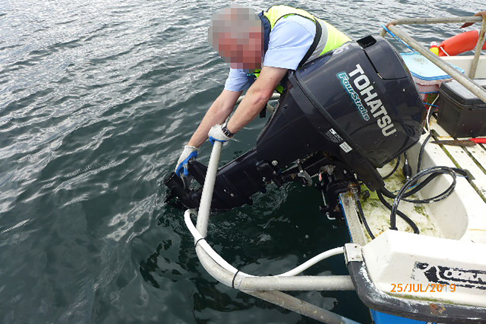 Reconstruction of outboard propeller being cleared