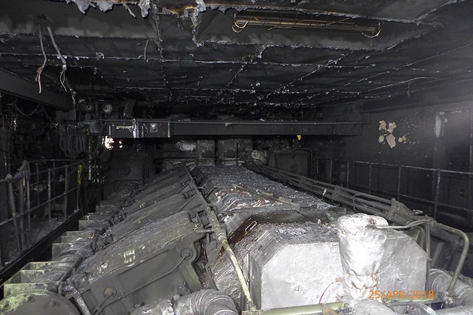 Engine room fire damage