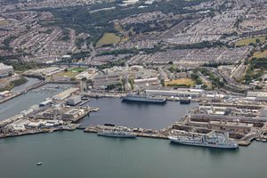 Aerial view of boats moored at HMNB Devonport